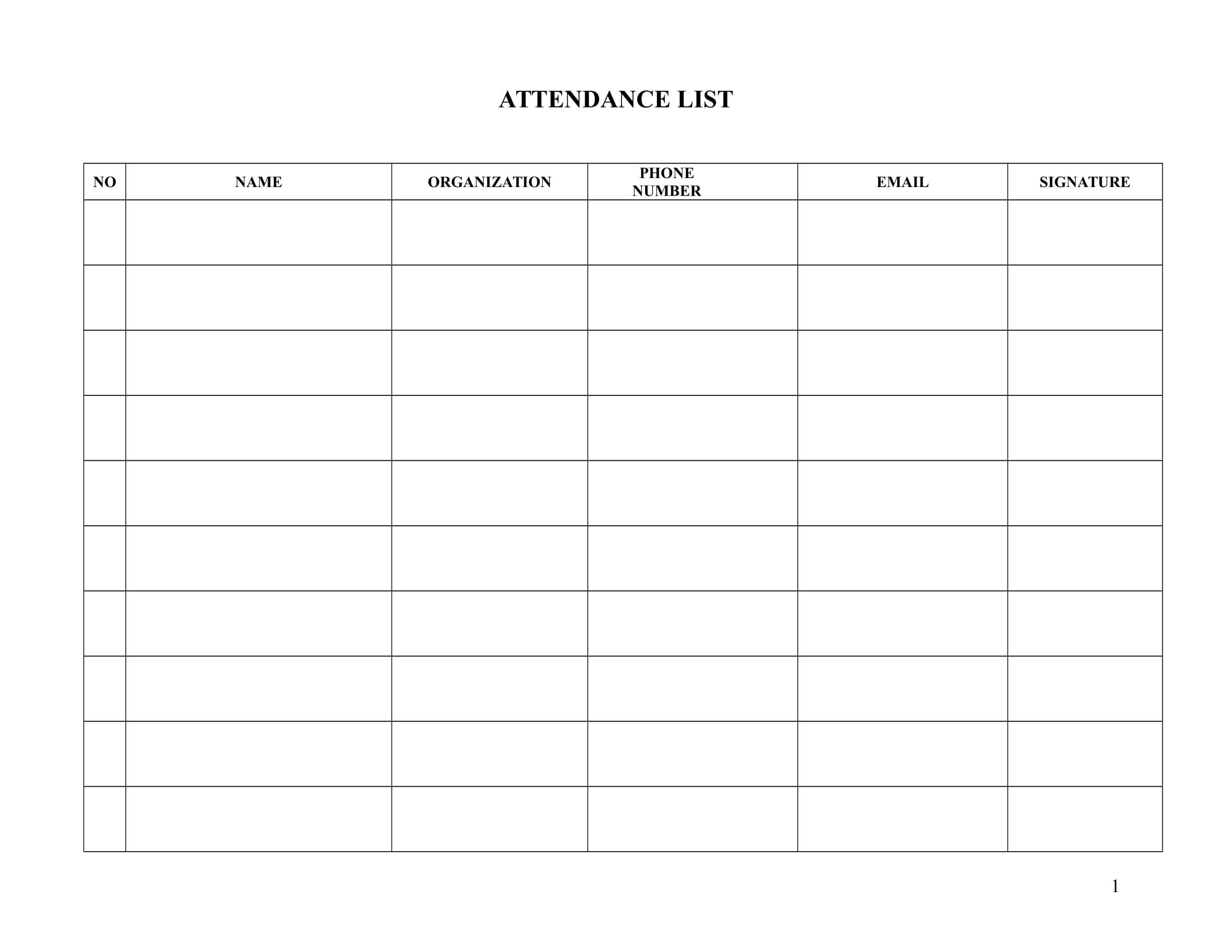 attendance list template example