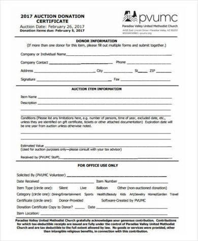 auction donation certificate1