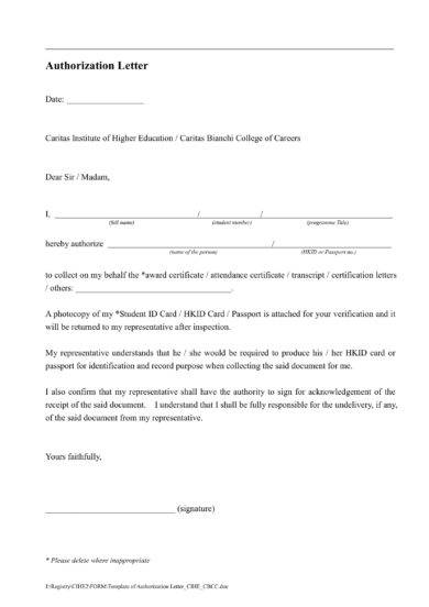 authorization letter template example