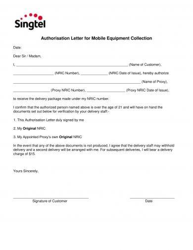 authorization letter for mobile equipment collection example