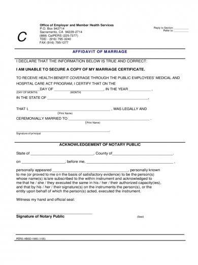 authorized affidavit of marriage example1