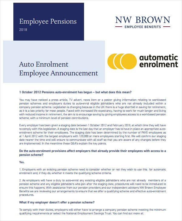 auto enrolment employee announcement