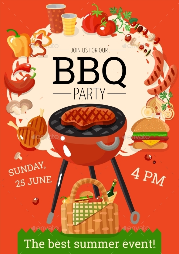 bbq barbecue party announcement poster example