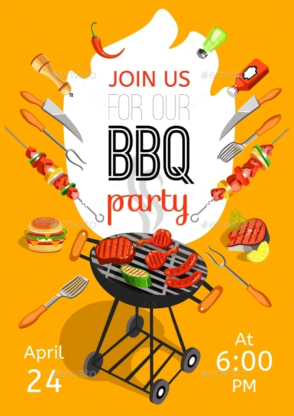 bbq party announcement flat poster example