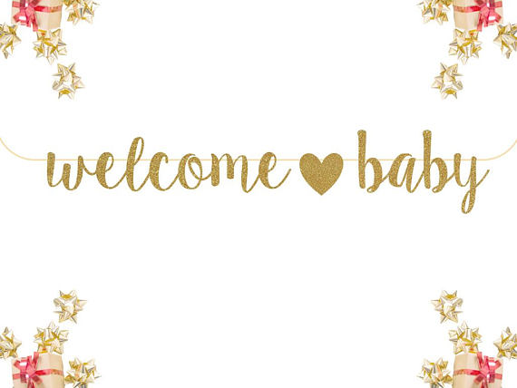 baby glitter welcome banner example
