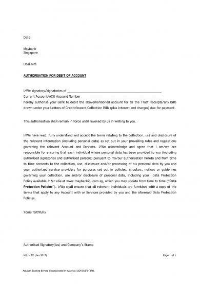 bank authorization letter to debit example1