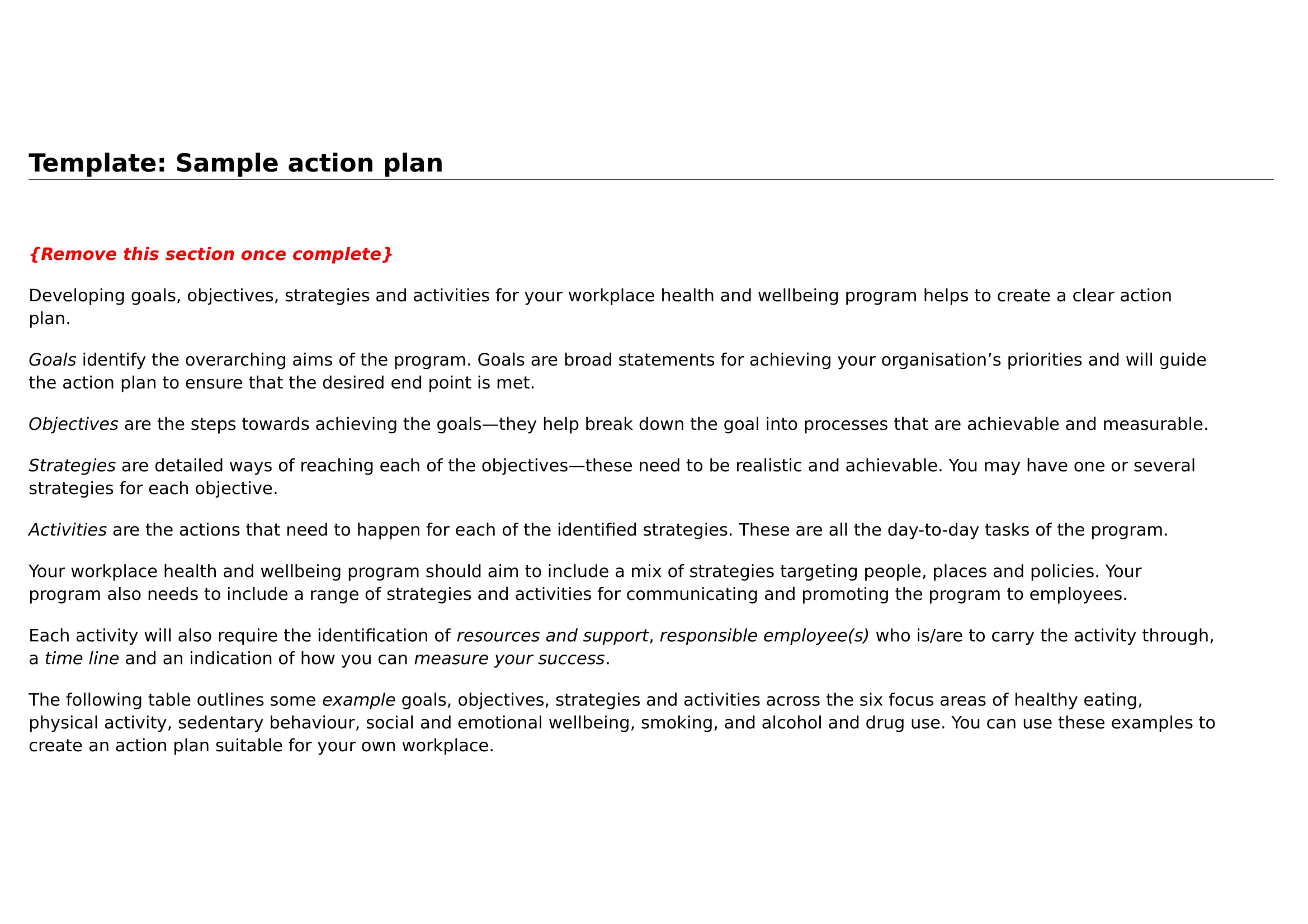 basic action plan template example 01