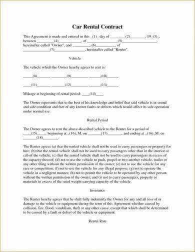 9 Car Rental Agreement Examples Pdf