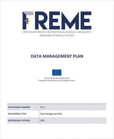basic data management plan example