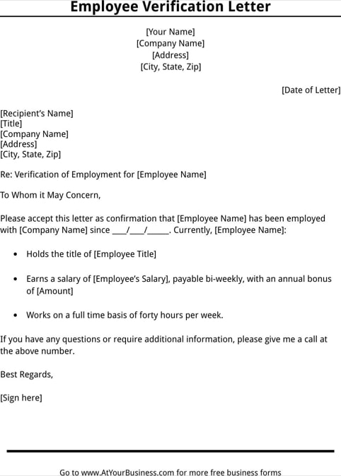 printable sample letter of employment verification form laywers