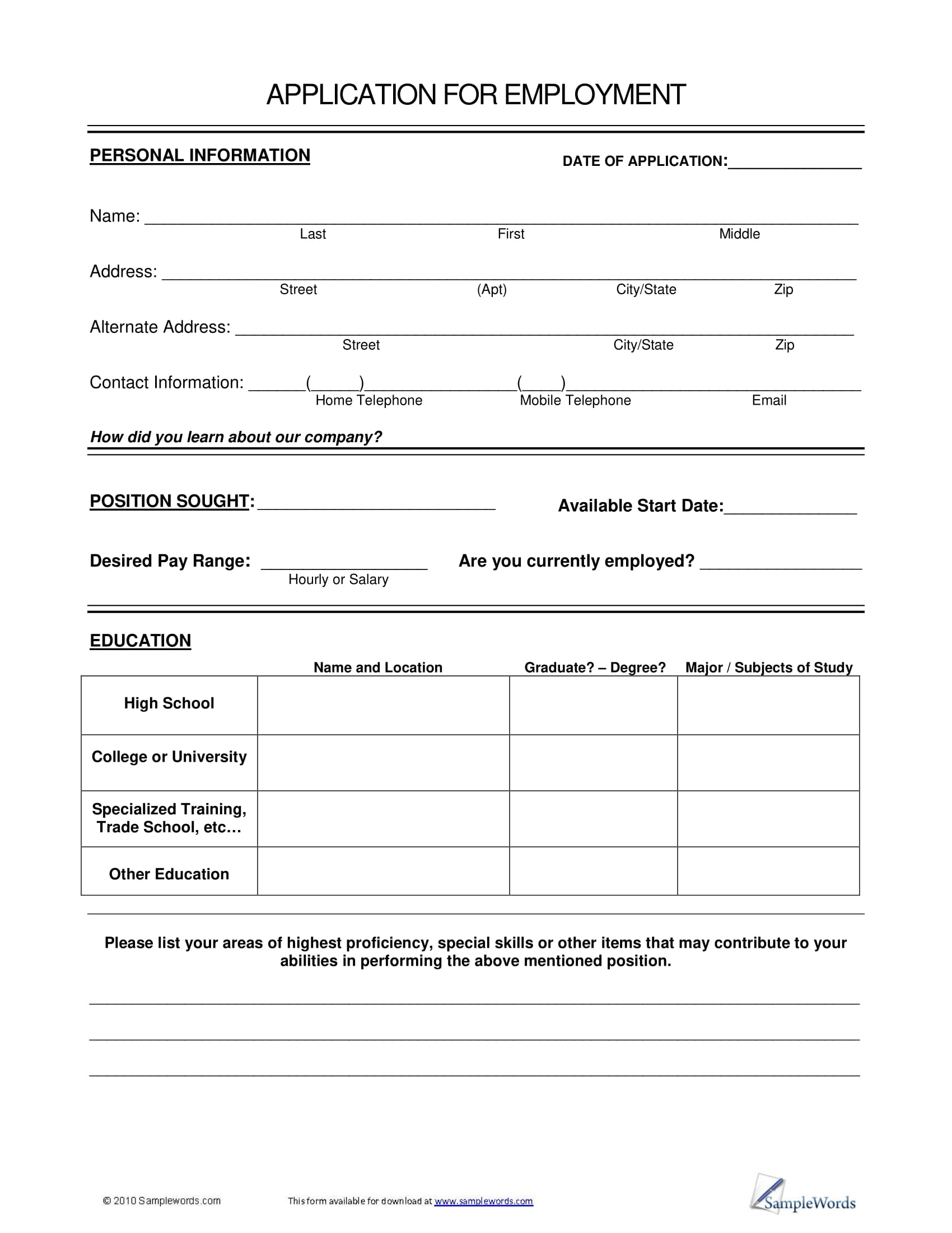 basic job application form example