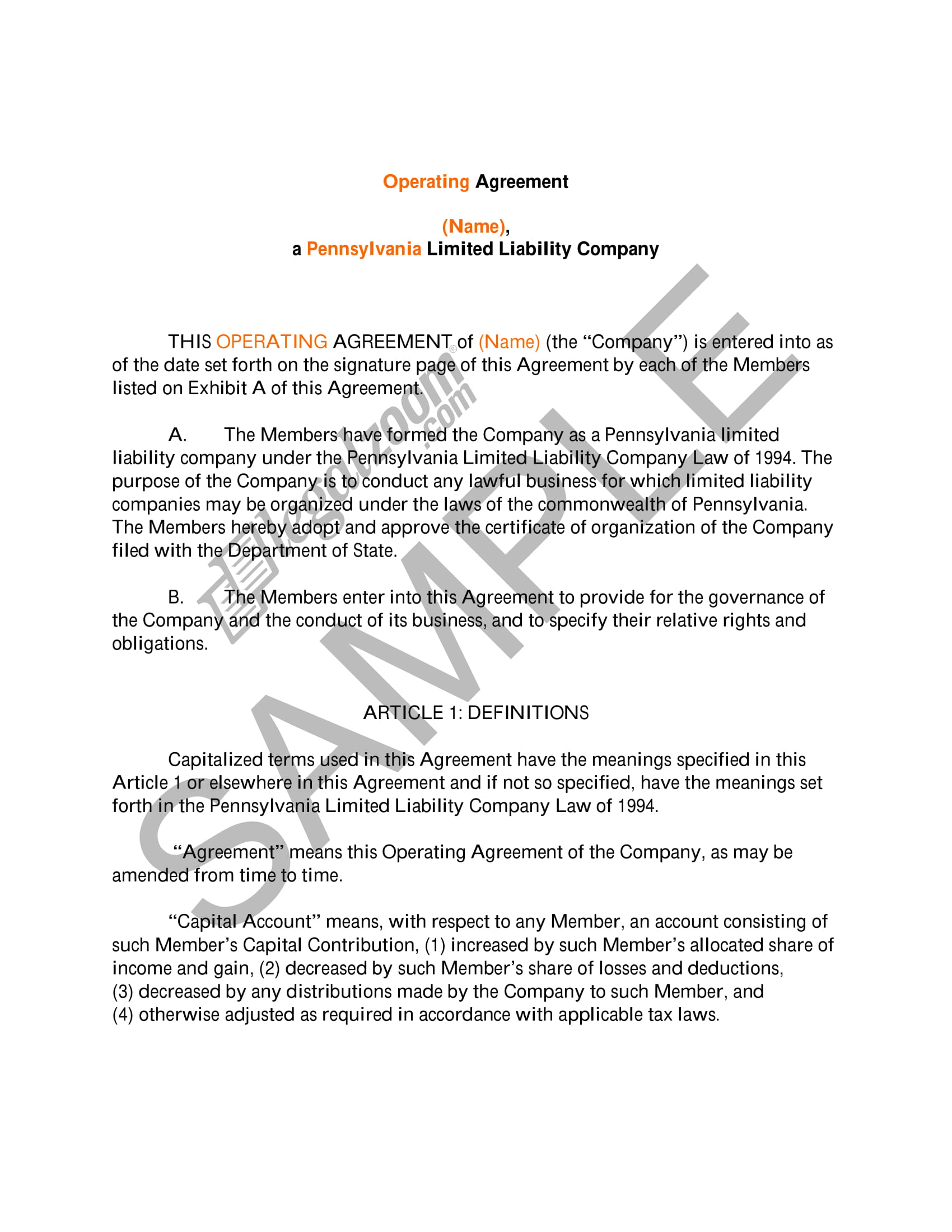 basic operating agreement