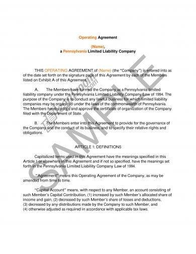 basic llc operating agreement example