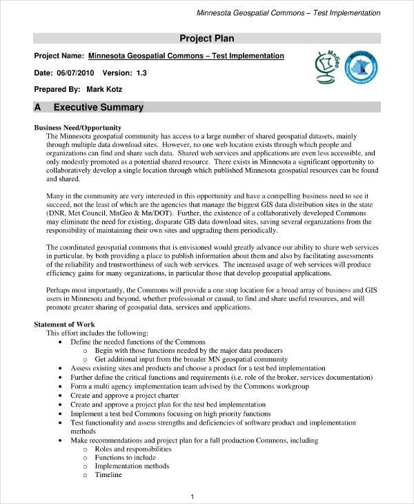 basic scope management plan example