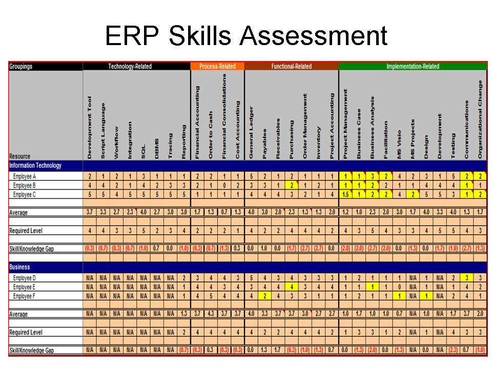 basic skills assessment checklist example