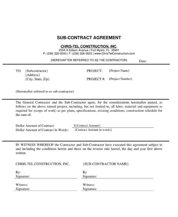 basic subcontract agreement example