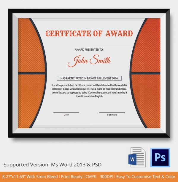19 sports award certificates pdf basketball certificate of award yelopaper Images