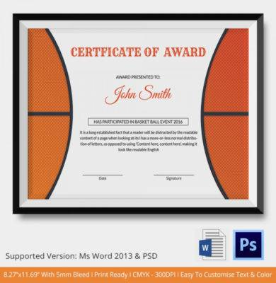 basketball certificate of award1