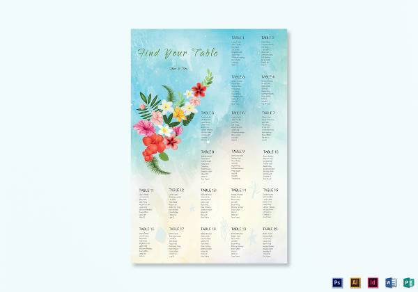 beach wedding seating chart example1