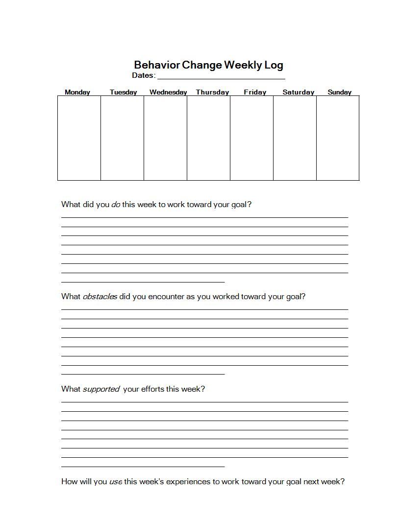 behavior change weekly log example