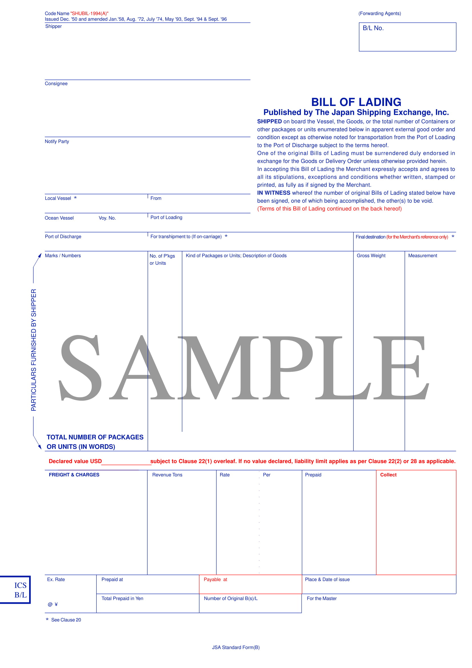 bill of lading form example 1
