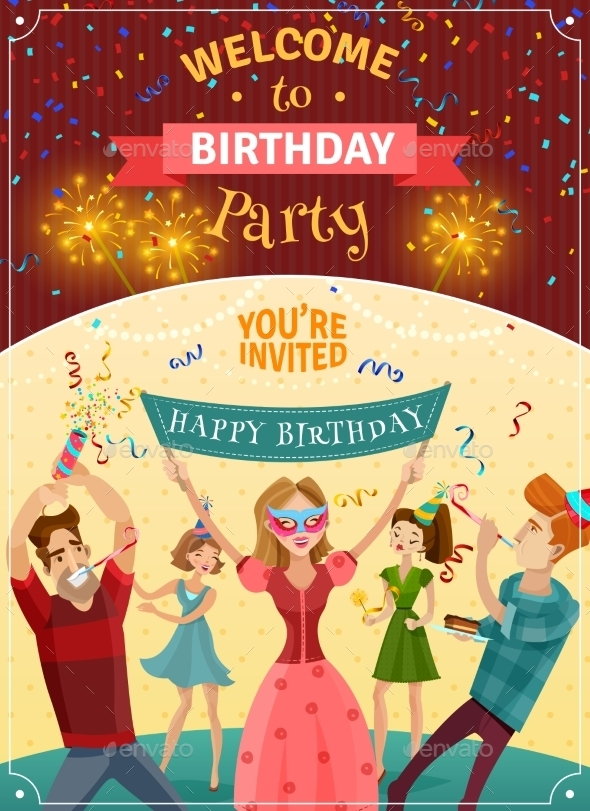 birthday party announcement invitation poster example