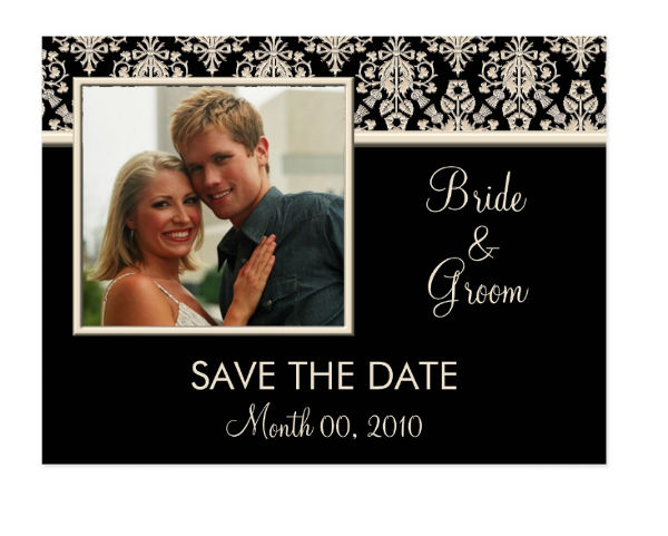 black and ivory damask save the date