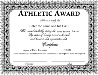 black and white athletic award examp