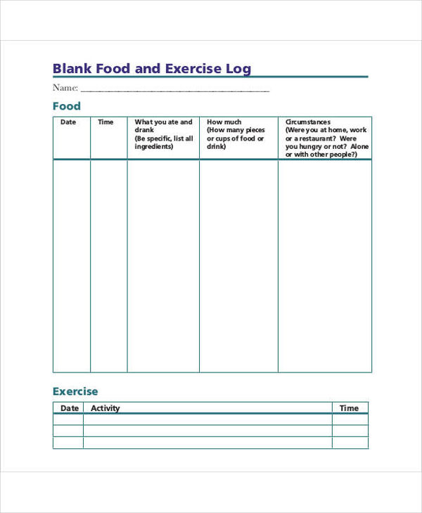 blank food and exercise log example1