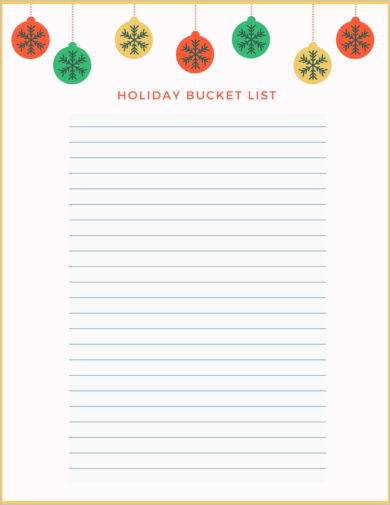 blank holiday bucket list template example1