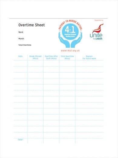 blank overtime sheet