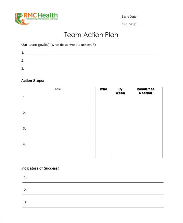 blank team action plan example