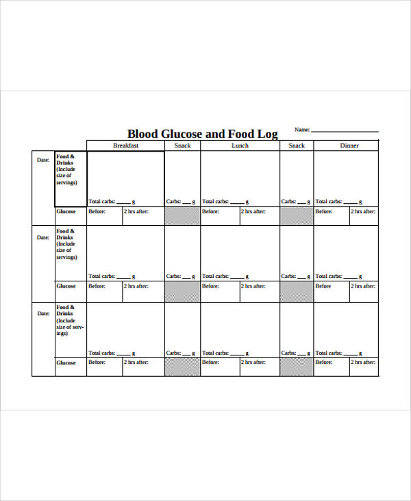 blood glucose and food log example