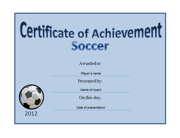 blue background soccer award certificate example