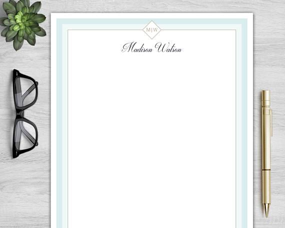 blue border personal letterhead example