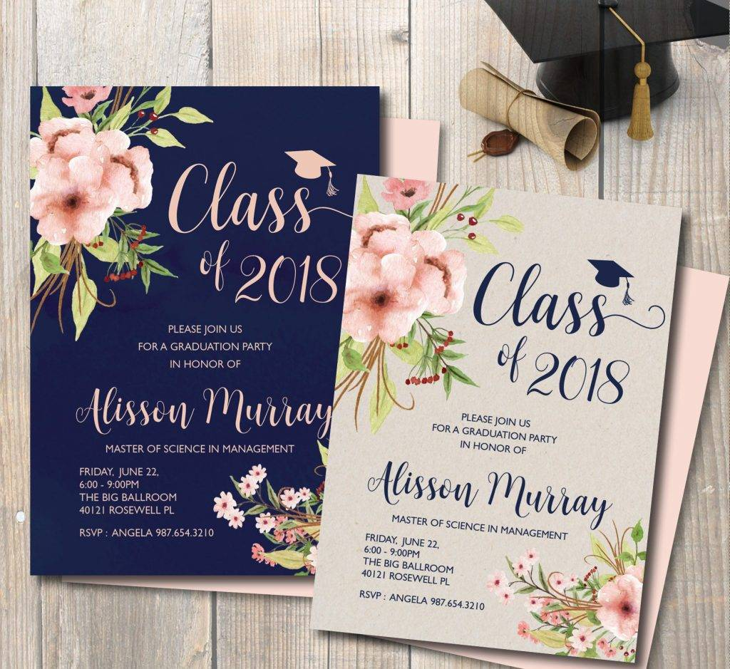 blue pink graduation announcement example