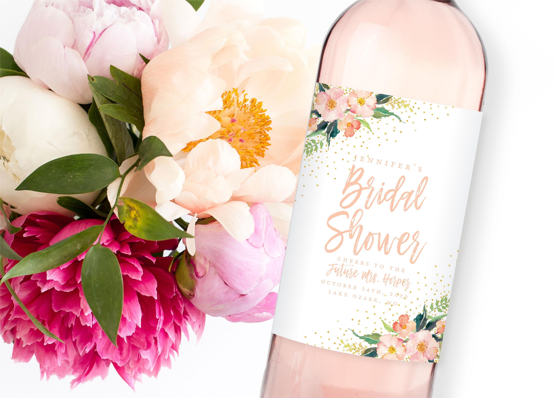 bridal shower wine label example