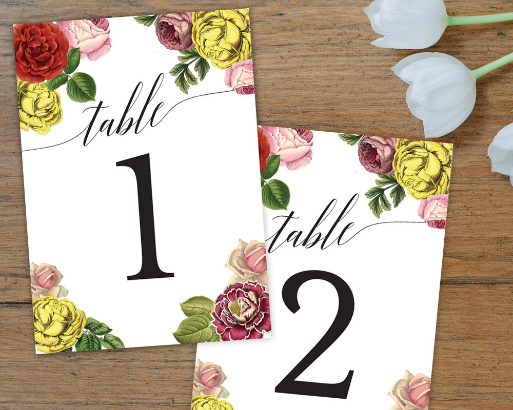bright flowers table number card example