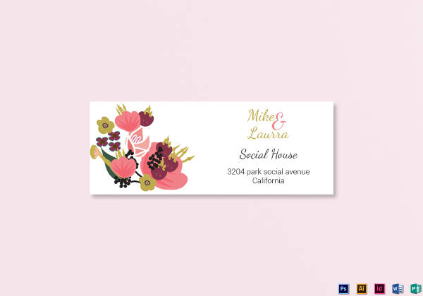 burgundy floral wedding address labels card example