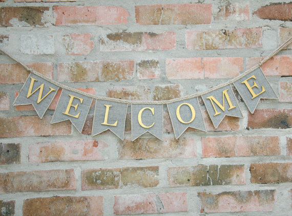 burlap welcome banner example