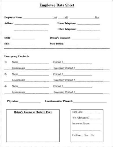 business employee information data sheet example1