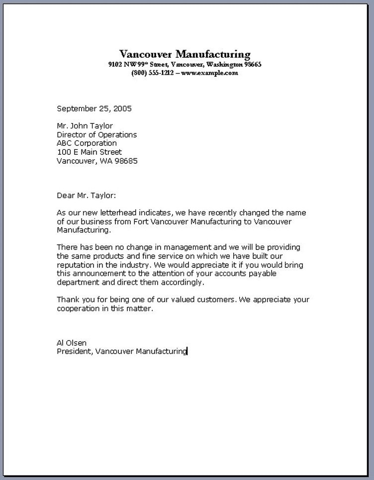 business letter sample