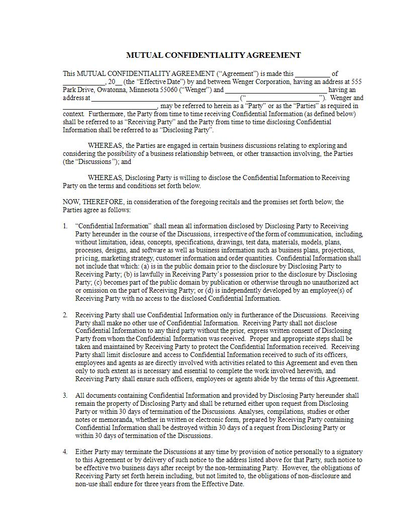 business mutual confidentiality agreement example