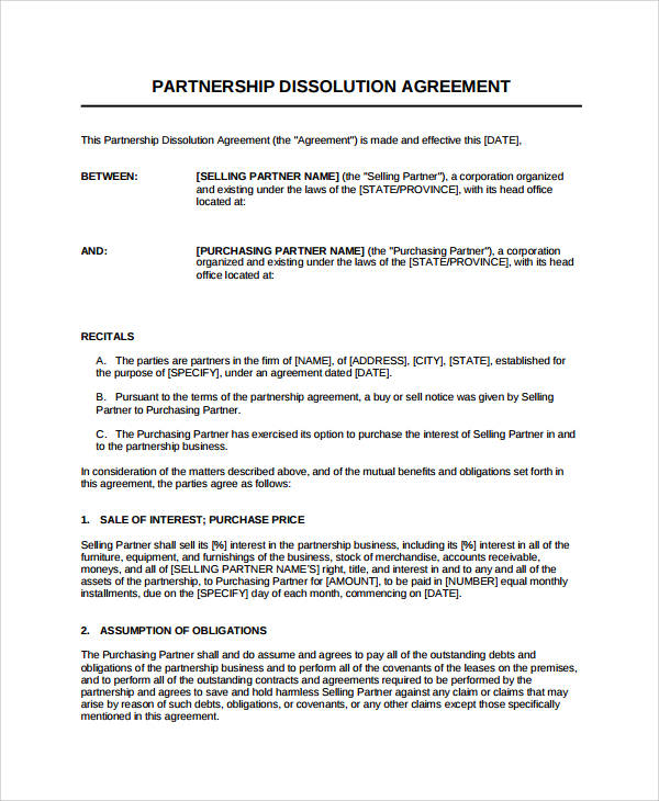 business partnership dissolution agreement example