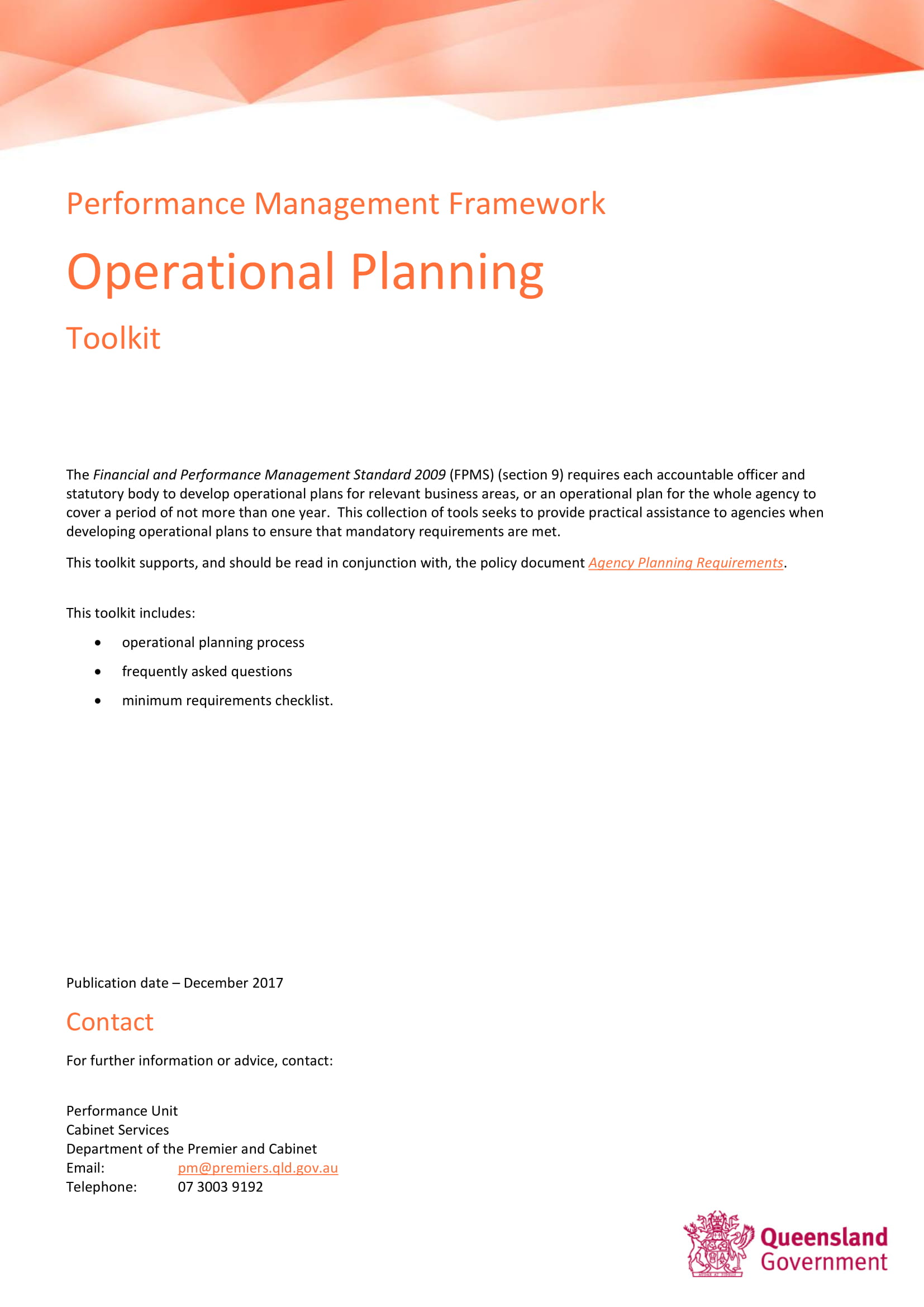 business performance management framework and operational planning toolkit example 1