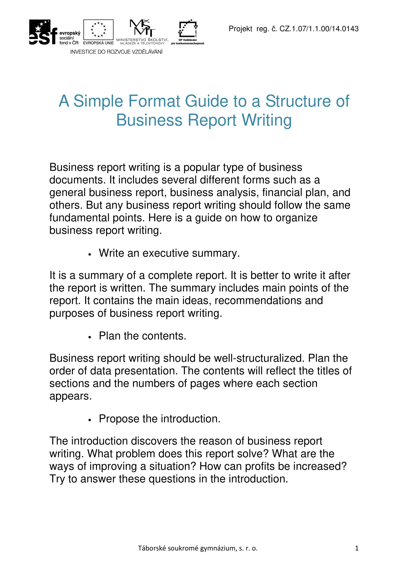 how to right a business report