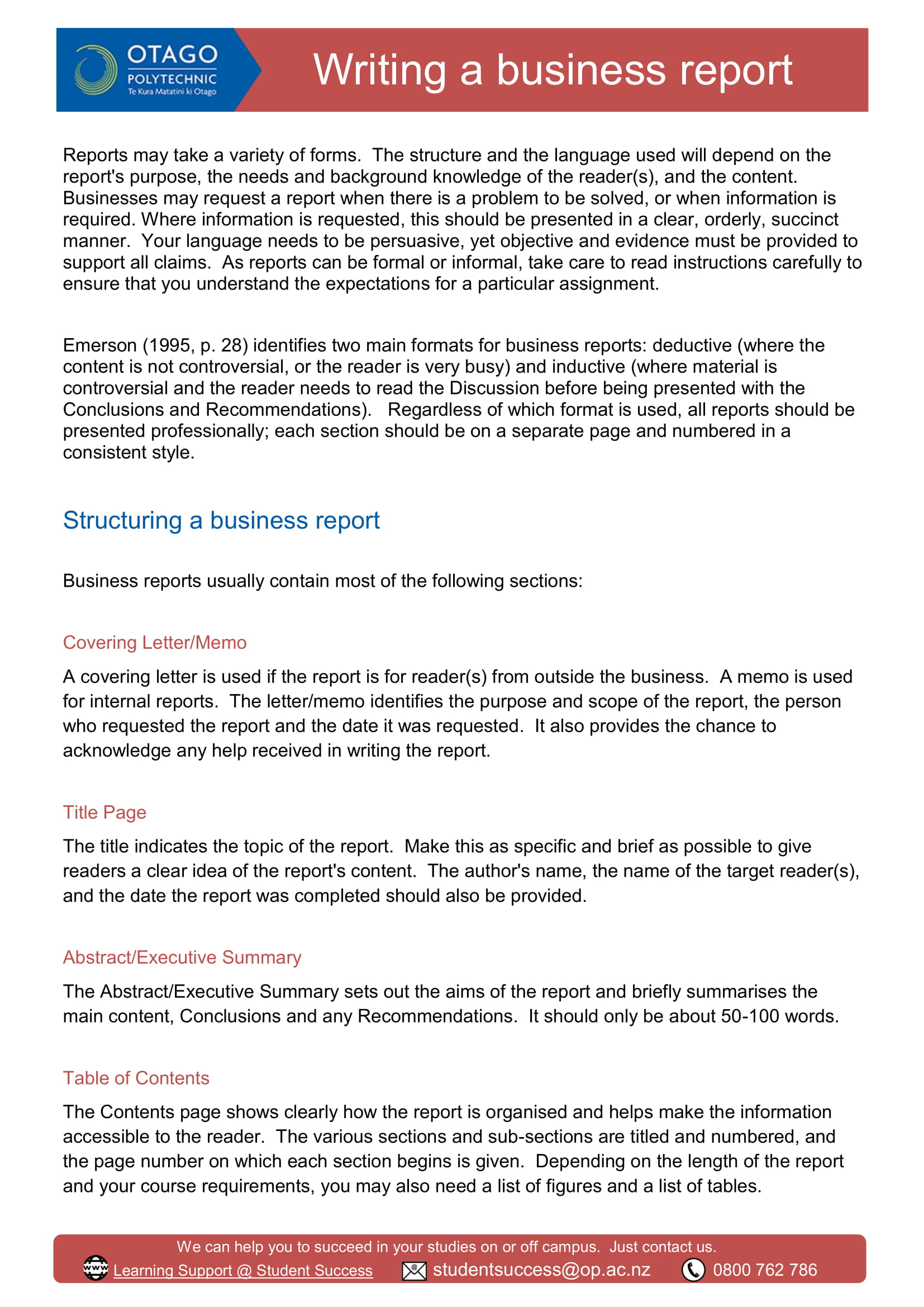 business report structure and format example 1