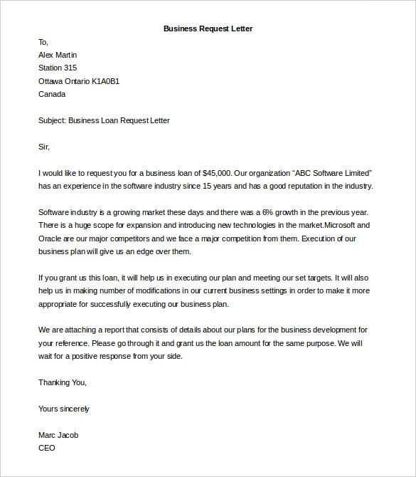 example of a business letter 24 letter writing examples pdf 21557 | Business Request Letter Example
