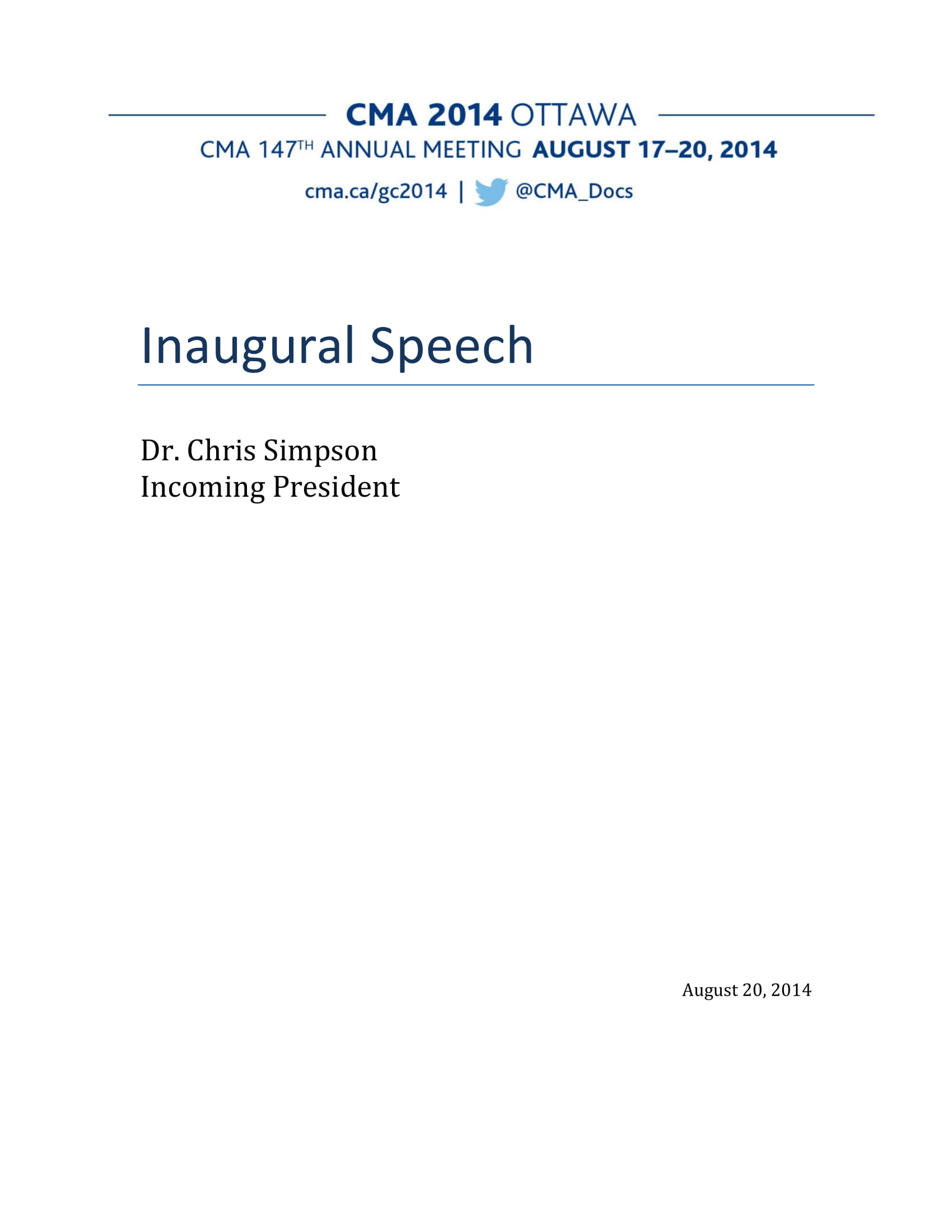 cma incoming president inaugural speech example