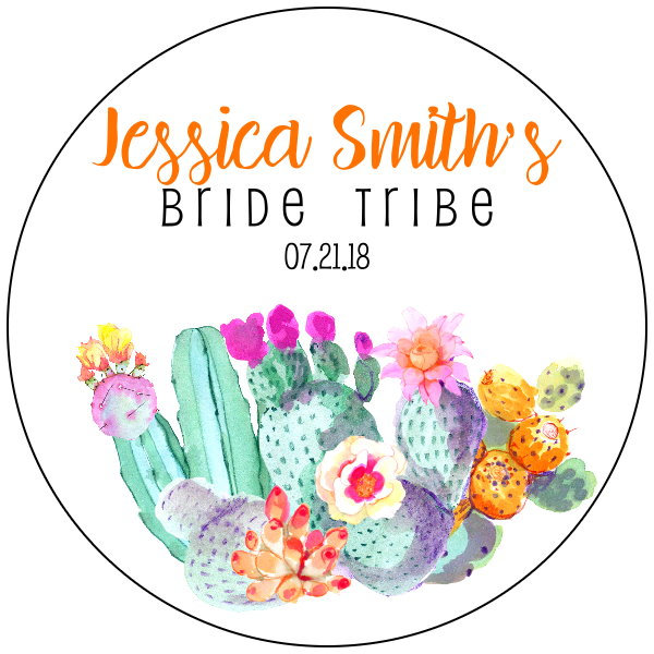 cactus bridal shower label example